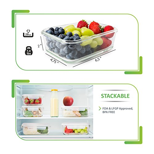 5-Pack-Glass-Meal-Prep-Containers-Food-Storage-Container-Set-with-Airtight-Locking-Lids-for-Portion-Control-BPA-free-Microwave-Freezer-Oven-and-Dishwasher-Safe-Reusable-Lunch-Boxes-29-ounce