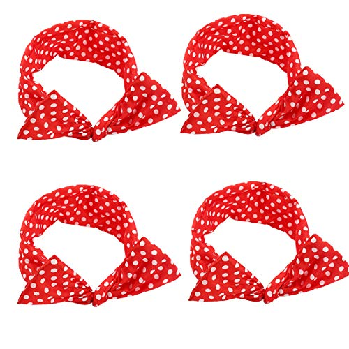 4 Pack Red Headband Retro Bowknot Polka Dot Wire Hair Holders for Women and Girls Ladies