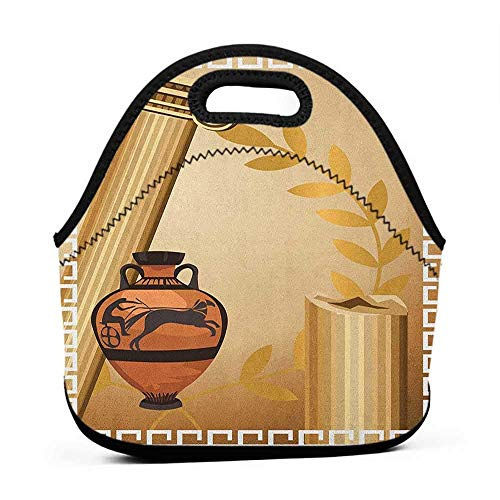 for Womens Mens Boys Girls Toga Party,Antique Greek Columns Vase Olive Branch Hellenic Heritage Icons, Pale Brown Cinnamon White,dual lunch bag for women