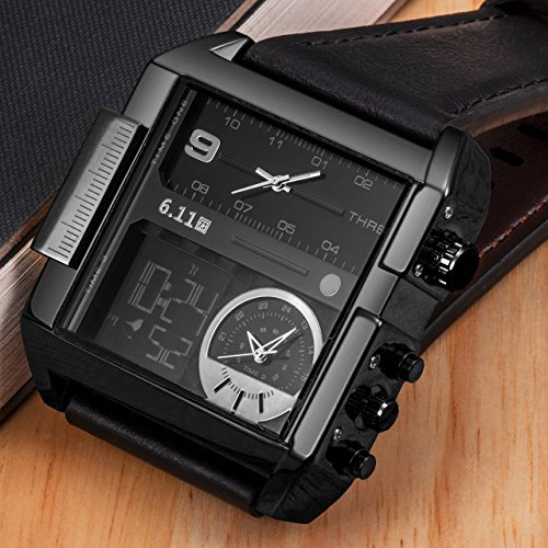Top Plaza Men's Black Square Digital Electronic Genuine Leather Band 3ATM Waterproof LCD Sport Watch Casual Business Quartz Military Multifunction Back Light by Top Plaza (Image #5)