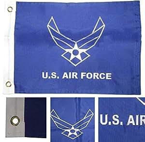 """12x 18bordado Estados Unidos fuerza aérea alas doble cara 2capas 220d nailon 12""""x18"""" resistente a la decoloración doble cosido Premium banderín casa bandera ojales"""