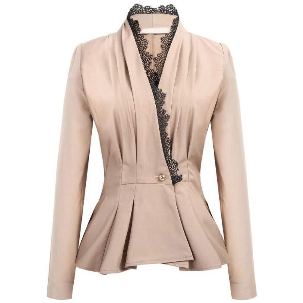 Feitengtd 2019 Fashion Women OL Style Long Sleeve Lace Patchwork Blazer Elegant Slim Suit Coat
