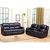 Betsy Furniture 2-PC Bonded Leather Recliner Set Living Room Set in Black, Sofa + Loveseat, Pillow Top Backrest and Armrests 8018-32