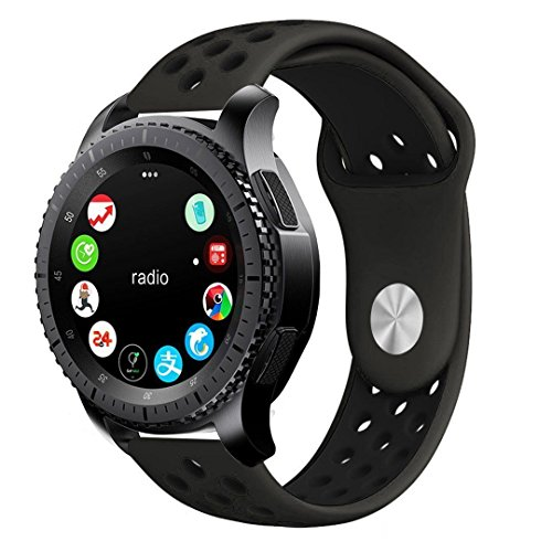 20mm Silicone Sport Quick Release Watch Strap Wristband for Samsung Gear Sport S4 Gear Watch (Black/Black)