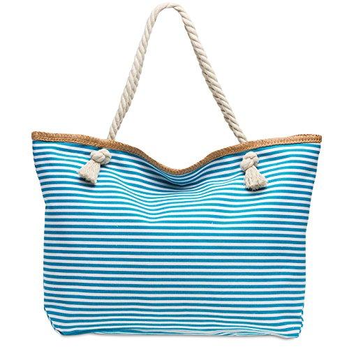 CASPAR TS1024 XL Bolso de Mano Grande para Mujer / Bolso de Hombro de Playa a Rayas Turquesa