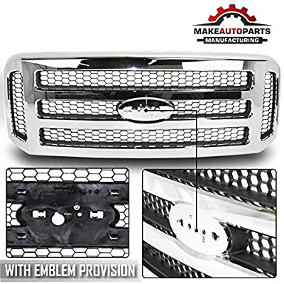 Make Auto Parts Manufacturing Chrome Grille Assembly With Gray Honey Comb Insert For Ford SuperDuty Pickup F-Series F250 F350 F450 F550 2005-2007 (XLT/Lariat OR Amarillo Models) - FO1200456: Automotive