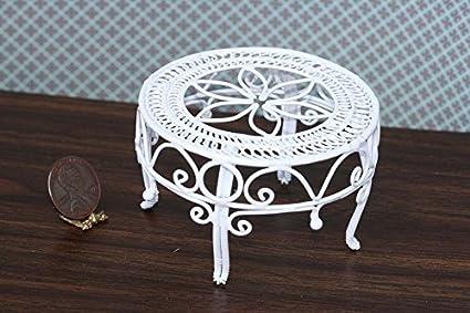 Dollhouse Miniature Victorian White Wire Table