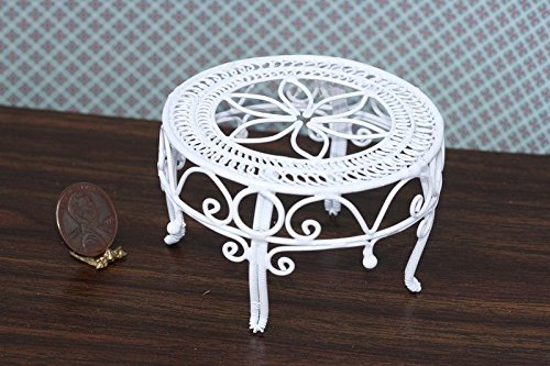 Victorian White Wire Miniature Dollhouse - Dollhouse Miniature Victorian White Wire Table