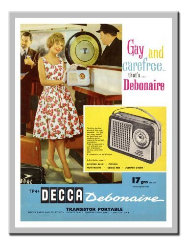 - Iposters Decca Radio 1960s Advert Print Magnetic Memo Board Silver Framed - 41 X 31 Cms (approx 16 X 12 Inches)
