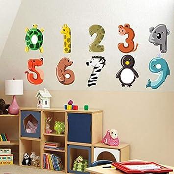 Amazon.com: Pegatina de pared de cebra con número de dibujos ...