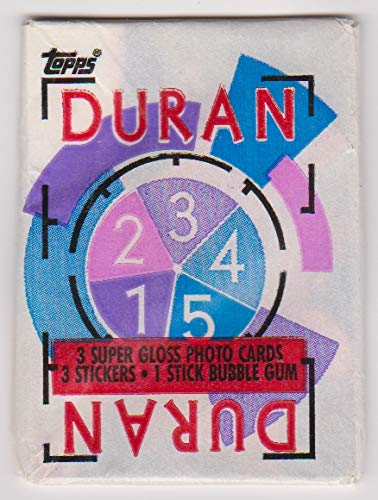 Duran Duran 1985 Topps Trading Card Pack (3 cards, 3 stickers, 1 stick of bubble gum) Tritec Music Ltd (Bubble Gum Canes)