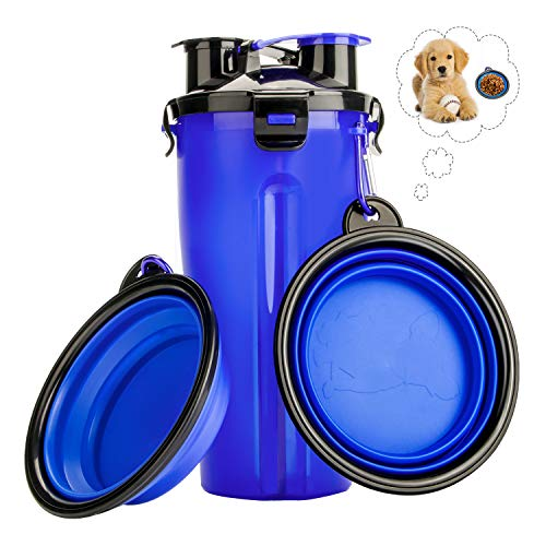 RIZON Puppy Dog Travel Water Bottle with 2 Collapsible Dog Bowls, Large Size Antibacterial 2 in 1 Pet Puppy Travel Cups for Outdoor Car Trip, BPA Free, FDA Approved, Blue