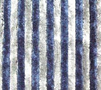 Flauschvorhang blau hellgrau aus Chenille 56 x 185 cm NEU Top Vorhang Caravan