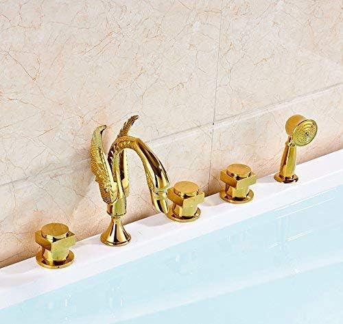 ZXY-NAN システムバス 蛇口のデッキの取付け浴室浴槽の蛇口三は、ハンドヘルドシャワーゴールドポリッシュ、マルチとミキサーのタップを処理します シャワー 降雨 取付簡単 シャワーヘッド ホース セット