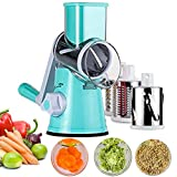 #7: Vegetable Mandoline Chopper,Upintek 3-Blades Spiral Slicer,Efficient and Fast Vegetable Fruit Cutter Cheese Shredder,Vertical Rotating Drum Veggie Pasta Salad Maker with Strong-Hold Suction Cup (Blue)
