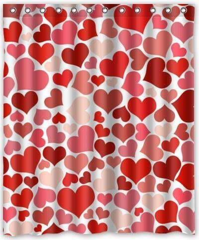60(w) x 72(h) Valentine's Day gift Pattern Bathroom Shower Curtain Shower Rings (Heart Shower Curtain)