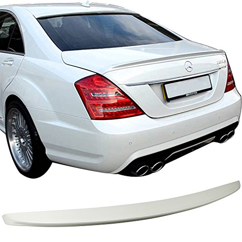 Pre-painted Trunk Spoiler Fits 2007-2013 Benz S-Class W221 | AMG Style Painted Alabaster White # 960 ABS Added On Lip Wing Bodykits other color available by IKON MOTORSPORTS | 2008 2009 2010