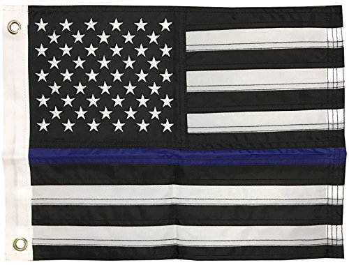 12x18 Inch Nylon Embroidered Police Officer Thin Blue Line Motorcycle Boat American USA Flag