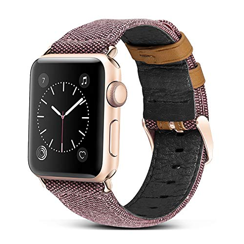 Jobese Compatible with Apple Watch Band 42mm/44mm 38mm/40mm, Classic Canvas Fabric Straps Genuine Leather Compatible with Apple Watch Series 4, Series 3, Series 2&1, Sports & Edition Wristbands