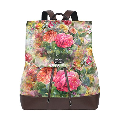 ALAZA Flower Collection PU Leather Backpack for Women Travel School Shoulder Bag (Collection Drawstring Hobo)