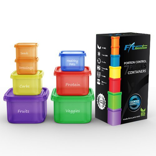 FitGenius Labeled Portion Control Containers (7-Piece Set ...