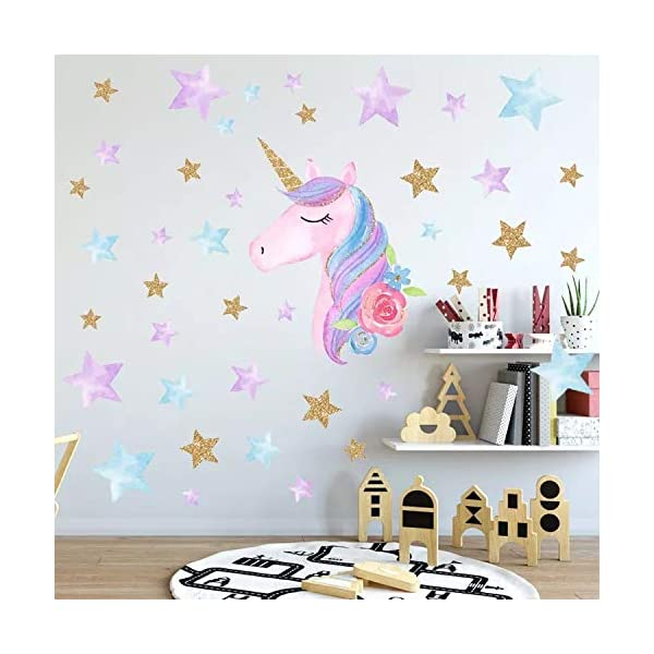 Cocobee Unicorn Wall Stickers Rainbow Colours Wall Stickers Stars Wall Decals for Girls Baby Children Bedroom Playroom… 5
