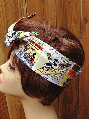 Wired Headband Mickey Mouse Disney Cartoon Print Bandanna Wired Dolly bow Rockabilly Wire Scarf Headband Bohemian Rabbit Ears by Sweet Beaches