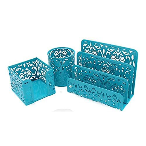 turquoise office decor. EasyPAG Carved Hollow Flower Pattern 3 In 1 Office Desk Organizer Set -  Letter Sorter Holder , Pen And Stick Note ,Dark Teal Turquoise Office Decor