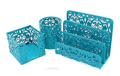 EasyPAG Carved Hollow Flower Pattern 3 in 1 Office Desk Organizer Set - Letter Sorter Holder , Pen Holder and Stick Note Holder ,Dark Teal (Turquoise Supplies Office)