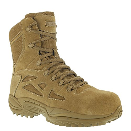 Reebok Mens Coyote Leather Tactical Boots Rapid Response 8in Stealth CT 8 M Tan
