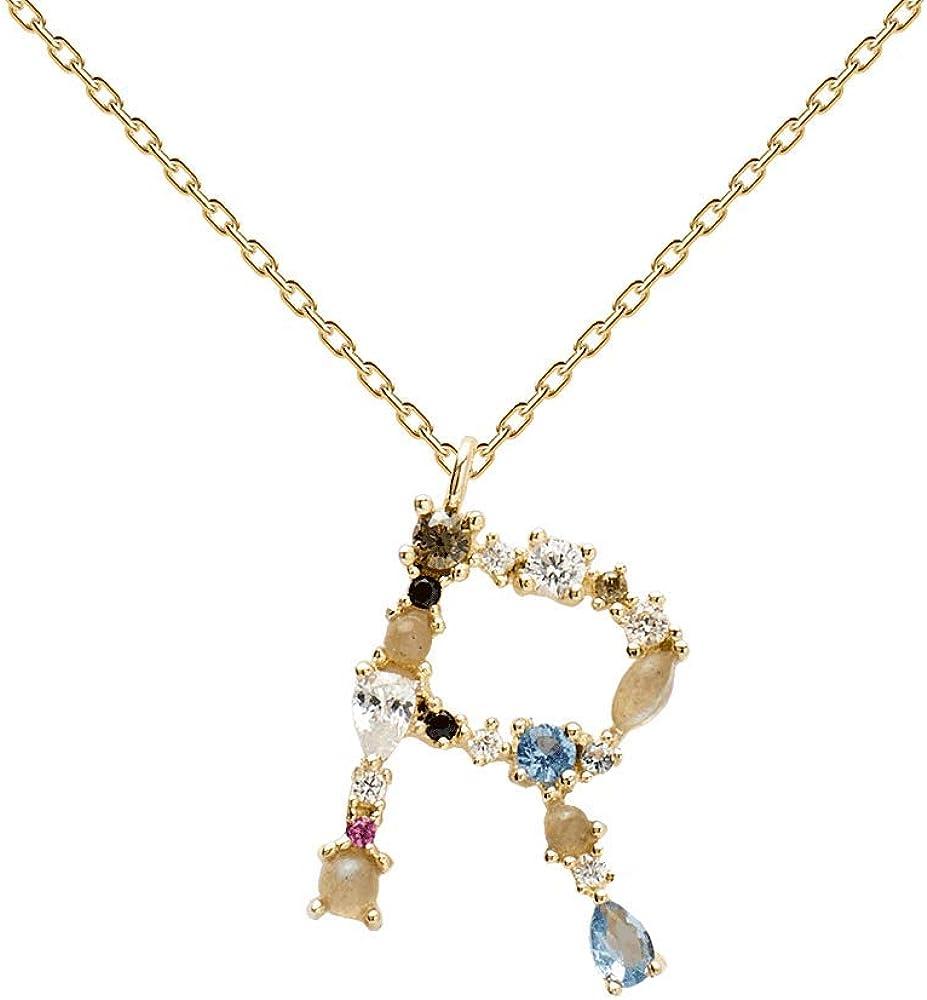 PDPAOLA - Collar Letra R - Plata de Ley 925 Bañada en Oro de 18k - Joyas para Mujer