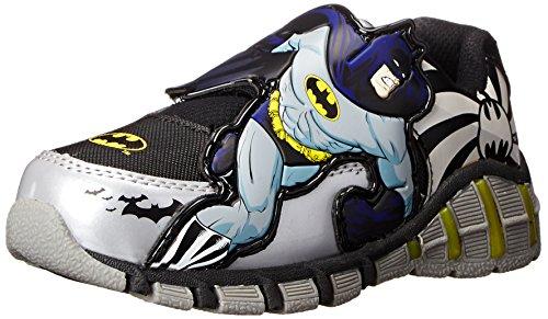 Toddler Batman Shoes (DC Comics Batman 307 Lighted athletic sneaker (Toddler/Little Kid), Gray, 10 M US)