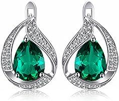 JewelryPalace 3.71ct Magnifique Boucles d'Oreilles Clips Créoles Femme en Argent Sterling 925 en Nano Russe Imitation Emeraude de en Forme Goutte d'Eau Verte