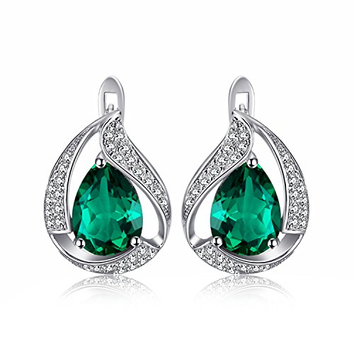 JewelryPalace Pear 3.7ct Nano Russian Simulated Emerald Hoop Earrings Solid 925 Sterling Silver