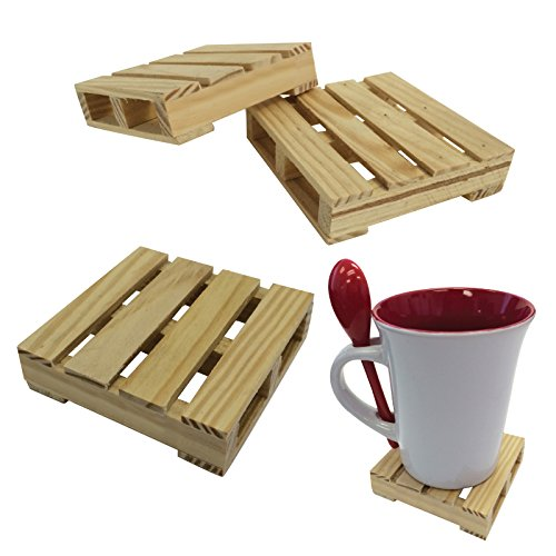 Thirsty Rhino Udara Wood Pallet Coasters (Set of 4) (Beechwood Set Bedroom)
