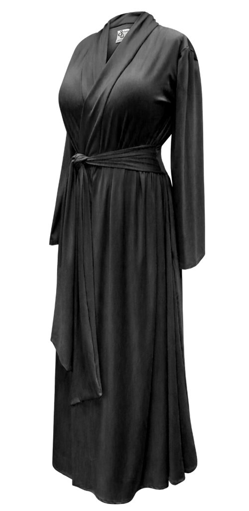 Solid Black Plus Size Supersize Poly/Cotton Robe With Attached Belt 2X