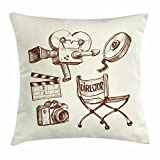 Ambesonne Movie Theater Throw Pillow Cushion Cover, Photography and Cinema Vintage Set in Sketch Art Style Director Shooting, Decorative Square Accent Pillow Case, 20 X 20 inches, Beige Brown