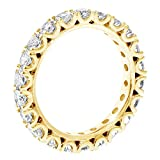 VIP Jewelry Art 14k Yellow Gold Set Diamond Eternity Anniversary Wedding Band in Fishtail (2.00-2.70 CT TDW)