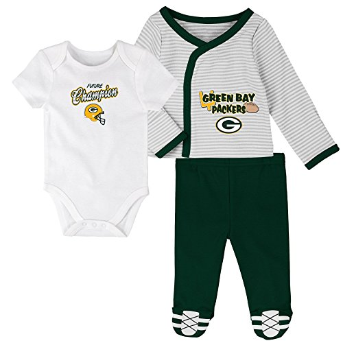 OuterStuff NFL Newborn Future Champ 3 Piece Onesie, Shirt and Pants Set, Green Bay Packers, Hunter, 3 - Packers Piece 3 Green Bay
