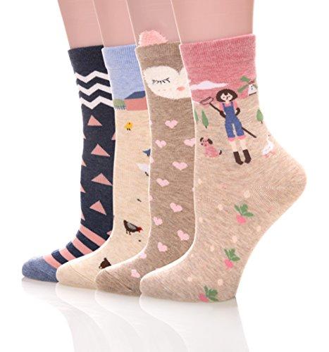 Color-City-4-Pairs-Soft-Comfortable-Novelty-Cartoon-Aminal-Crew-Pattern-Cotton-Socks