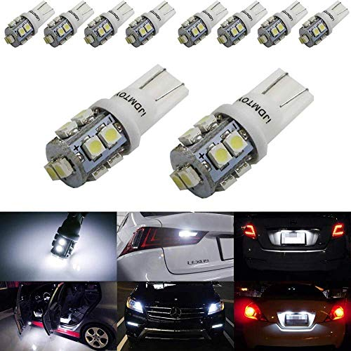 iJDMTOY (10) Xenon White 10-SMD 360-Degree Shine 168 194 2825 W5W LED Replacement Bulbs For License Plate Lights, Also Parking Lights, Backup Lights, Interior Lights ()