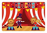 Lunarable Circus Pet Mat for Food and Water - Tamer and Lions Circus Performance Amusing Celebrating Party - Rectangle Non-Slip Rubber Mat for Dogs and Cats - Multicolor