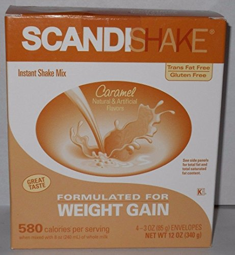 Scandishake Instant Shake Mix for Weight Gain Caramel Flavor 3oz Packets 4ct For Sale