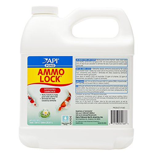 (API POND AMMO-LOCK Pond Water Ammonia Detoxifier 64-Ounce Bottle)