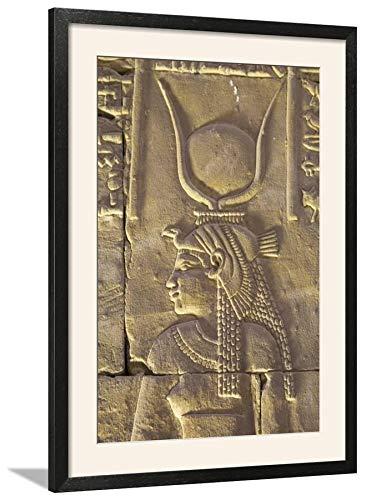 ArtEdge Relief Depicting The Goddess Hathor, Temple of Horus, Edfu, Egypt, North, Africa by Richard Maschmeyer, Wall Art Framed Print, 30x20, Black Soft White ()