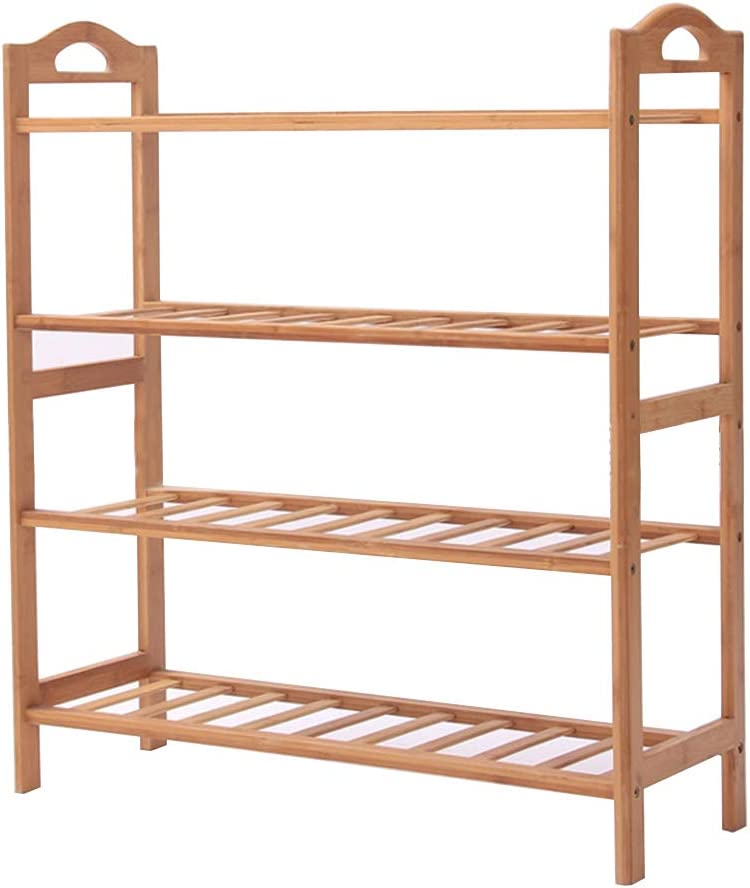 4 Tier Closets and Entryway Fits 12 Pairs of Shoes Organizer sogesfurniture Free Standing Bamboo Shoe Rack with Handles BHCA-XJ-4-D Entryway Shoe Shelf Storage Organizer