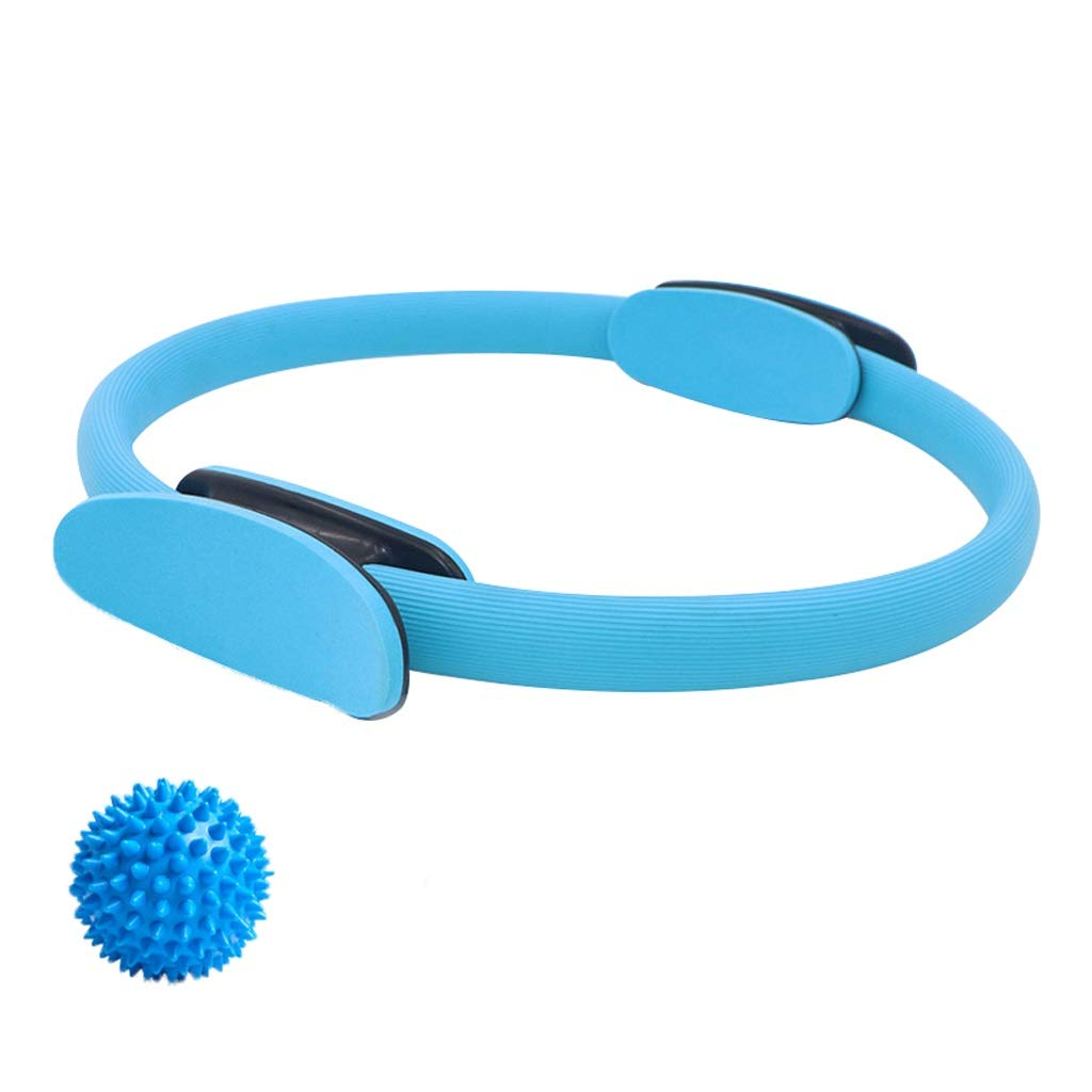 Magic Circle with a Massage Ball, Double Handle Exercise Yoga Ring Exercise Fitness 15 Inch/38cm,for Fat Burnning Physical Therapy Tool (Color : Blue)