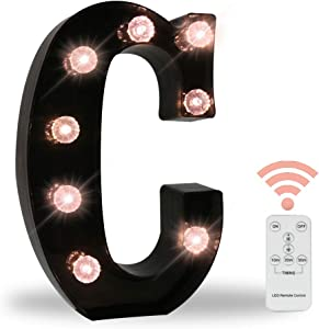 26 LED Letters Light Alphabet Marquee Signs, Ampersand Remote Timer Light Up Signs with Letters Desk Table Lamp for Bedroom, Bar, Wall Decor- Black Letter C
