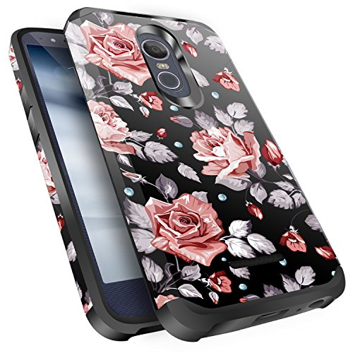 LG Stylo 3 Case, LG Stylo 3 Plus Case, LG Stylus 3 Case, Miss Arts Slim Anti-Scratch Kit with [Drop Protection] Dual layer Hybrid Armor Protective Cover Case for LG Stylo 3 -Rose Gold Flower/Black