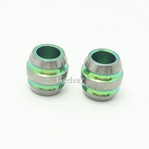 TIKING 2pcs 12mm Titanium Barrel Shape Knife Key Jewelry Parachute Cord Bead Pendant Lanyard-Green